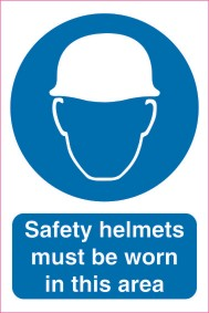 Safety helmets must be worn 200mm x 300mm